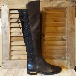 VINCE CAMUTO Parle Brown Leather Tall Boot